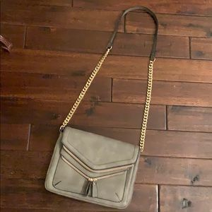 Melie Blanco Gray Shoulder Bag w/ gold chain strap